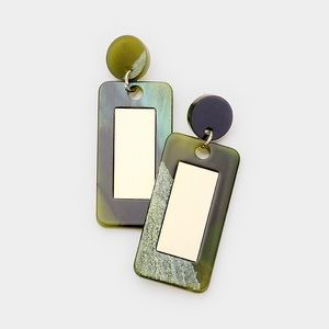 Square Celluloid Acetate Link Dangle Earrings